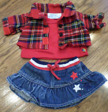 Build a Bear Outfit Set Red White Blue Skirt & Top Set Shirt