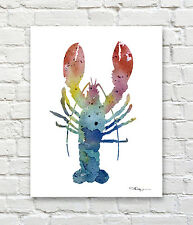 Lobster Abstract Watercolor Painting Art Print by Artist DJ Rogers