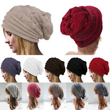 Mens Womens Slouch Skull Cap Oversize Wool Warm Beanie Baggy Cap Knit Ski Hat AU