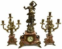 ELEGANT FRENCH FIGURAL MARBLE MANTEL CLOCK SET, early 1900s!!