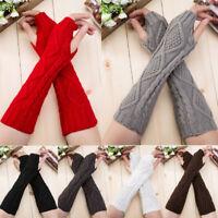 Fashion Women Girl Semi-Long Gloves Knitted Fingerless Winter Gloves Soft Mitten