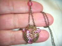 ANTIQUE ART DECO GORGEOUS CZECH PINK Crystal INTRICATE FILIGREE VINTAGE NECKLACE