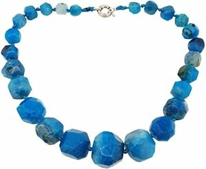 Chunky and Stylish Natural Blue Agate Gemstone Necklace for Women and Girls