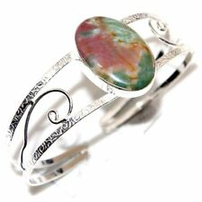 Handmade Natural Bloodstone Jasper 925 Sterling Silver Bracelet Bangle #E00090