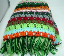 "Hand Crochet Granny Afghan Multicolored Throw Blanket 45"" X 64""  Fringe Ends"
