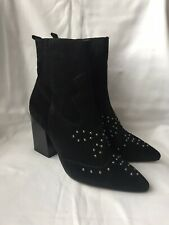 NEW NEXT Black Suede Studded Ankle Boots - UK Size 5 / EU 38 - RRP £75