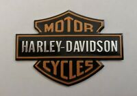 HARLEY DAVIDSON 3D METAL BADGE STICKER GRAPHIC DECAL LOGO BLACK ORANGE SHIELD