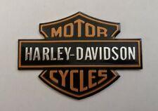 HARLEY DAVIDSON 3D METAL BADGE STICKER GRAPHIC DECAL LOGO BLACK ORANGE SHIELD