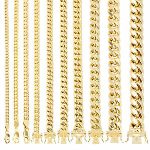 "14K Yellow Gold Real 3mm-14.5mm Miami Cuban Link Chain Pendant Necklace, 16""-30"""