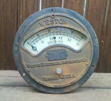 Antique 1901 Industrial Weston Electric Volt Meter - Cast Iron - Steampunk