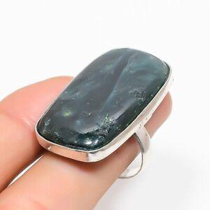 Nephrite Gemstone Handmade Ethnic Jewelry Ring Size 6.5RL-30072