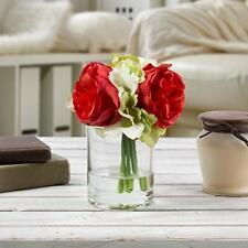 Pure Garden Hydrangea & Rose Artificial Floral Arrangement w/ Vase & Faux Water