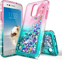 For LG Tribute Empire/Dynasty Case Liquid Glitter Phone Cover + Tempered Glass