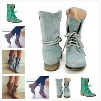 AU Women Low Heel Ankle Martin BootS Combat Military Leather Lace Up Motor Shoes