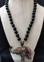 "Heidi Daus ""Casbah Chic"" Crystal Elephant Drop Necklace Black Beads NEW!"