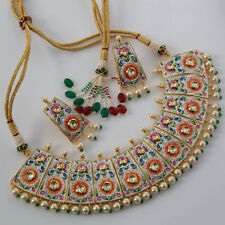 MEENAKARI ENAMEL WORK AND WHITE KUNDAN GLASS STONE ON THE METAL DESIGNER JEWELRY