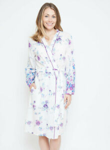 Ladies White Purple Blue Floral Summer Dressing Gown Robe - SIZE 8 16