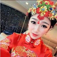 Retro Gold Wedding Tiaras Chinese Luxury Bridal Crown Headpiece Tassel Pageant