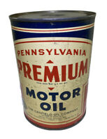 Vintage Pennsylvania Premium Motor Oil Can The Canfield Oil Co. Open On Bottom.