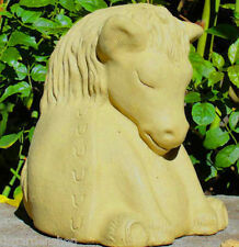 MEDIUM MEDITATING HORSE Solid Concrete Stone Buddha Garden Statue Decor Art -O