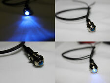 8mm 12V Blue LED Metal Indicator Pilot Dash Light Lamp Wire Leads no polarity