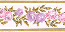 Pink Purple Mini Rose Gold Leaf Vine Garland Flower Floral Wall paper Border