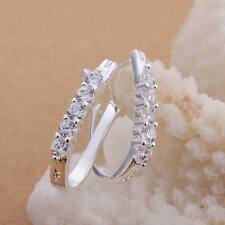 beautiful Fashion Silver Cute women Crystal Earring wedding jewelry girl 925