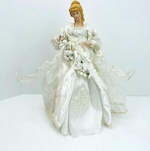 "Vintage Large 16.5"" Victorian Blonde Porcelain Girl Doll Christmas Tree Topper"