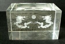 Crystal glass paperweight with Two Dragons
