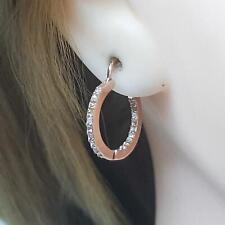 Genuine .40ctw H-SI Diamond 14K Rose Gold 925 Silver Inside Out Huggie Earrings