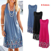 NEW Women Summer Casual Sleeveless Evening Party Cocktail Dress Short Mini Dress