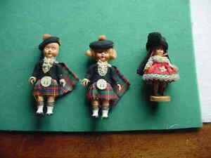 3 Vintage Celluloid 6 inch Travel Dolls,Scottish Boy and Girl,,Portugese Girl