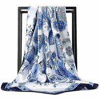White Blue Floral Print Silk Scarf Neck Scarve Womens Square Satin Scarf 35inch