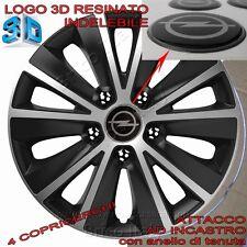 """4 Copricerchi auto Raptor 14"""" Logo top Resinato 3D OPEL per Corsa Meriva Karl"""