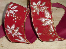 Poinsettia Red Flock Wired Christmas Ribbon Cakes Wreaths Decoration 1 Metre
