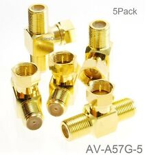 5-Pack F-Type Connector 2-Way Male to 2-Female Gold-Plated T-Splitter, AV-A57G-5