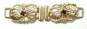 10K Black Hills Gold Watch Tips Bracelet Parts, Grapes Leaves, Red Stone 4.21 G
