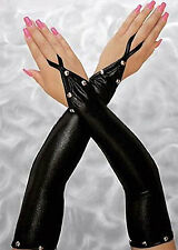 AG2 - Gothic Silver Studs Fingerless One Finger Soft Gloves Faux Leather Black
