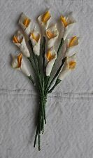 50 IVORY Mulberry Paper miniature arum CALLA LILY for crafts wedding  card