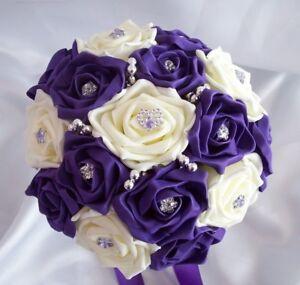 Wedding flowers Cadbury purple & ivory rose wedding Bouquet Posy