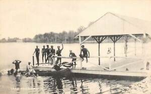 Lake Parsippany, NEW JERSEY ~ People on the dock and in a canoe - Collotype Co.
