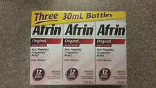 Afrin Original Nasal Spray & Decongestant 12 hr Relief 3 x 1 oz bottle
