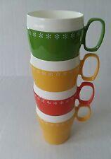 VINTAGE NEW-MAR ORANGE RETRO 4 CUPS  KIDS CAMPING MUG Green Yellow Orange
