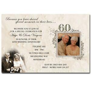 Wedding Anniversary Invitation with Photos - 60th Diamond