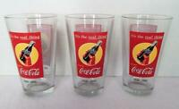 Set of 3 COCA-COLA Drinking Glasses With 1939 - 1949 Coke Bottles