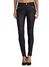 BLK DNM Black Stretch Leather Moto Biker Skinny Leg Pant Jeans Womens 25-RRP$775