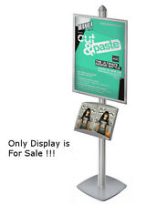 Sky Tower Display Kit in Silver 22W x 28H Inches with Snap Frame, Brochure Shelf