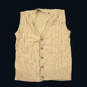 VTG 80s Beige Cable Knit Sweater Vest Preppy Wood Buttons Grandpa Style M