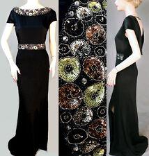 $1895 NWT ST JOHN Black Elaborate Beading Knit Dress Gown sz 4 SPECTACULAR!
