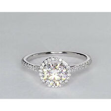 1 1/2 Ct Diamond Engagement Ring Round Halo Solitaire In 18K White Gold Finish